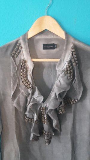 Liebeskind Blusa de seda gris-gris oscuro