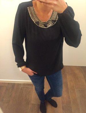 Bluse Oberteil locker edel mit Perlen Ausschnitt schwarz leicht