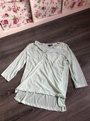 Bluse Oberteil Shirt Chiffon leicht Türkis Brusttasche neon mintgrün