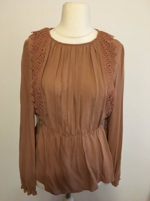 Bluse Oberteil Shirt Langarm beige nude rose Gr. M Mango NEU mit Etikett