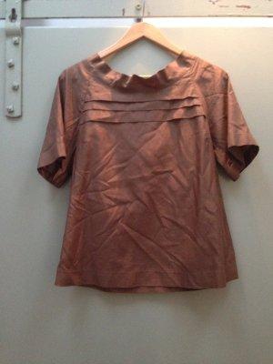 Bluse Oberteil von SANDRO Paris braun Gr.36 S Baumwolle