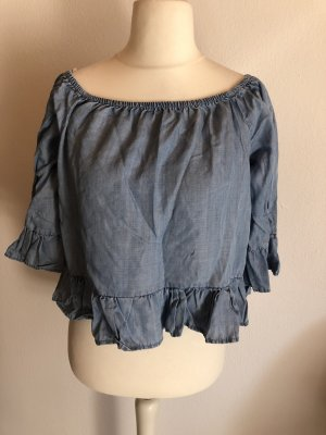 Bluse Off-Shoulder Carmen Jeanslook Volants Gr. 38