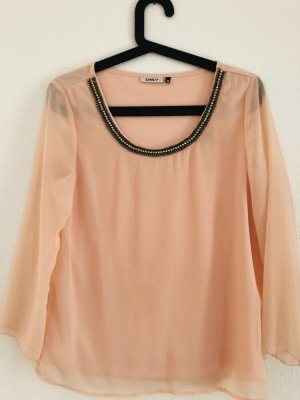 Only Blouse en soie rose chair-saumon