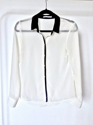 Bluse ONLY business casual black white transparent office