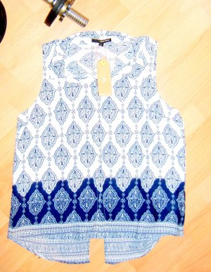 Bluse Ornamente Cut Out blau-weiss