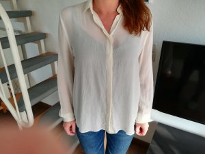 & other stories Long Sleeve Blouse cream-white silk
