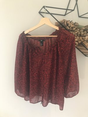H&M Ruffled Blouse red-black