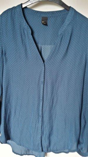 Glanzende blouse petrol