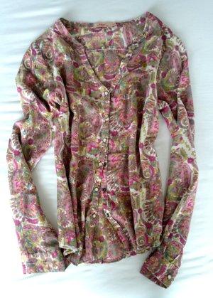 Bluse pink senf grün weiß geblümt Blumenmuste rin Gr. XS