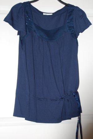 Bluse: Promod, blau, Pailletten, Shirt mit dezentem Glitzer, neuwertig! NP 39€