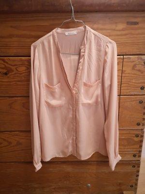 Bluse Promod S V- Ausschnitt Palietten rosé rosa