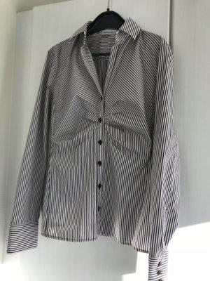 Bluse René Lezard Gr. 40, dkl.braun-weiß