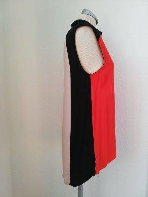 Bluse retro ärmellos orange schwarz Gr. UK 10 38 S M neu Top Oberteil vokuhila