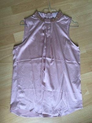 Bluse rosa ärmellos Anna Field S 38 Gold Perlen seidig Reisverschluss