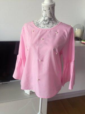 Bluse rosa mit Perlen Gr M/L neu