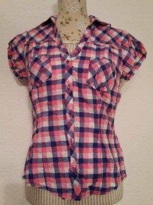 Geruite blouse magenta-donkerpaars