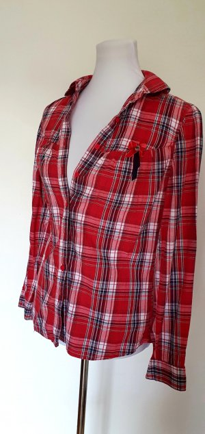 Bluse rot kariert Herbstmode musthave Gr 38