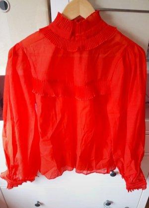 H&M Blouse met opstaande kraag rood