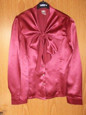 Bluse rot mit Schleife in S 36 glänzend Büro schick Schluppenbluse