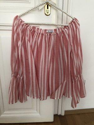 Bluse rot weiß gestreift schulterfreie von na_ kd