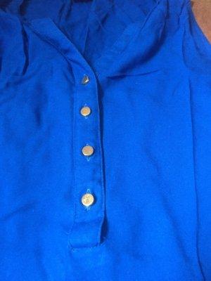 Bluse royalblau kurzärmelig Vera Mode XS