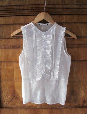 Bluse Rüschen weiß transparent vintage