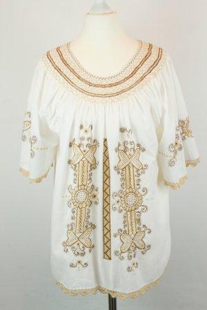 Bluse Schlupf-Bluse Gr. S/M weiß beige braun Stickerei Hippie boho ethno oversized