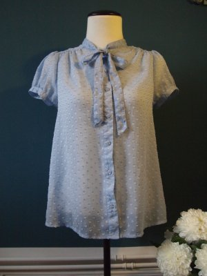 H&M Divided Tie-neck Blouse azure polyester