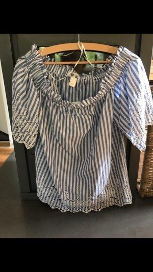 H&M Blusa alla Carmen bianco-azzurro