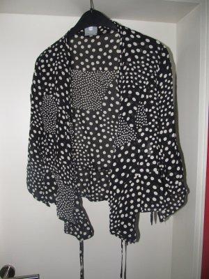 Bluse schwarz-creme gepunktet Halbarm Gr. 36/38