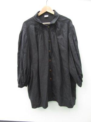 Bluse schwarz Damen Vintage Retro Tracht 100% Leine Gr. 52