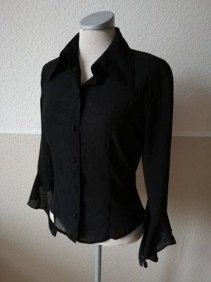 Bluse schwarz Gr. 34 XS gothic Franco Callegari Vintage Oberteil Fledermausarm Trompetenärmel