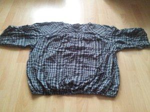 Bluse schwarz grau kariert leicht dünn