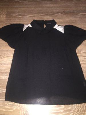 Bluse schwarz mit Kragen