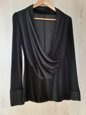 Bluse schwarz mit Schalkragen