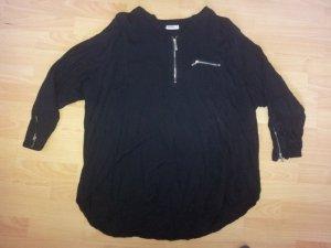 Bluse schwarz mit silber Reißverschlüssen Gr. 54 Neu