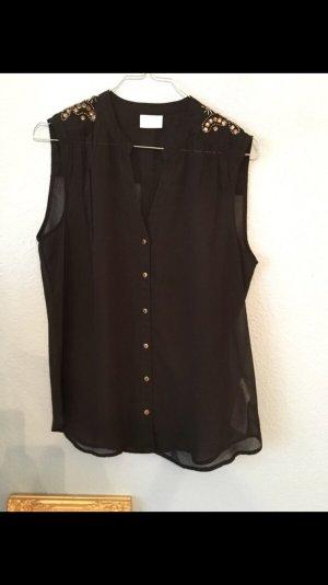 Bluse Schwarz mit Steinen auf den Schultern