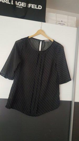 Bluse schwarz mit weißen Pünktchen