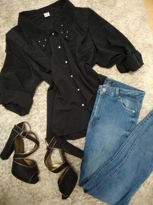 Bluse schwarz Perlen Kragen mit Stickerei