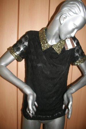 Bluse schwarz Spitze mit Paillettenkragen neu mit Etikett Vila Gr. M