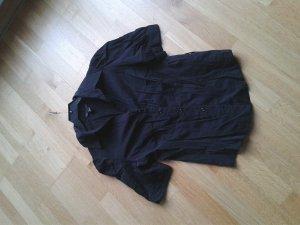 Bluse, schwarz talliert