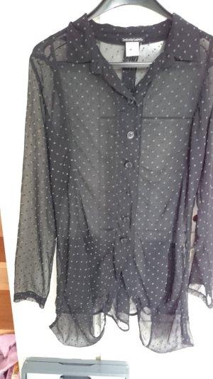 Bluse,  schwarz,  transparent mit kleinen, grauen Herzen