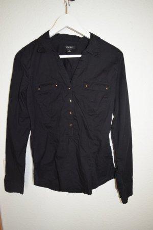 Bluse schwarz von Amisu mit goldfarbenen Knöpfen Gr, M