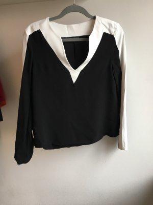 Bluse schwarz weis Weihnachten Silvester,  weiter Ausschnitt