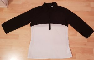 Bluse schwarz weiß 3/4 Arm - S / 34-36 - wie neu!