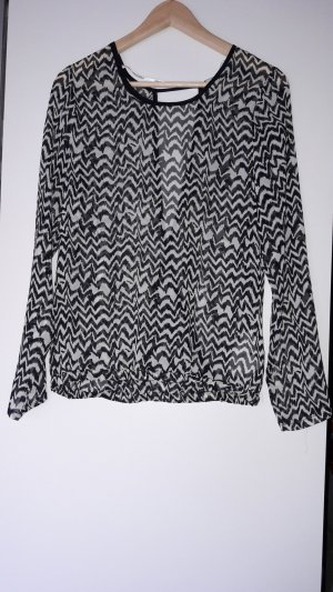 Bluse schwarz/weiß gemustert