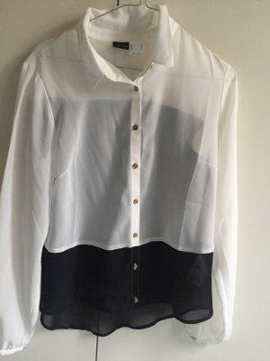 Bluse schwarz weiß Gold