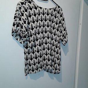 bluse schwarz weiß mit witzigem Muster