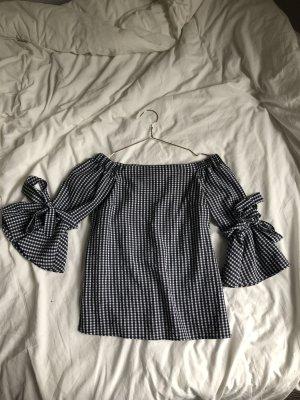 Bluse schwarz weiß Muster rüschen Shirt Oberteil schulterfrei u Boot Ausschnitt schick Trend Glocken Ärmel Schleife binden