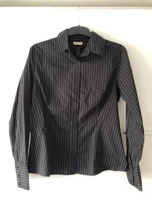 Bluse schwarz weiß Nadelstreifen